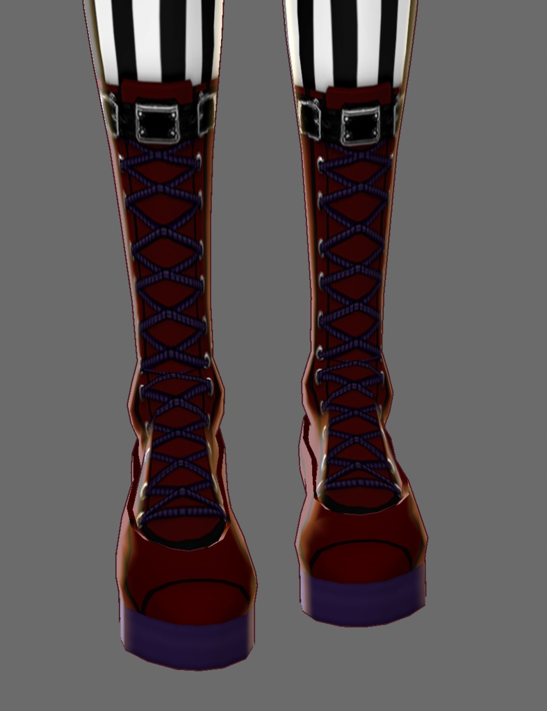 Deep Red, Black, and Violet Boots