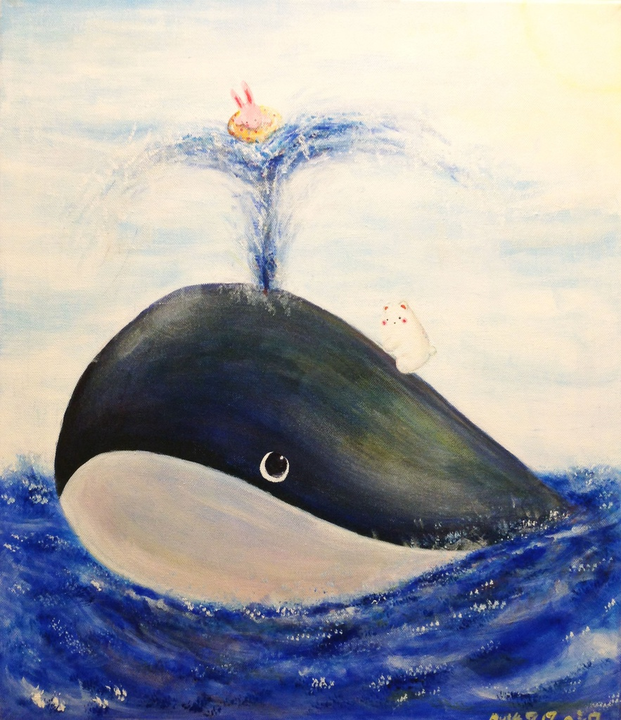 【4色アート原画】くじらさんと海