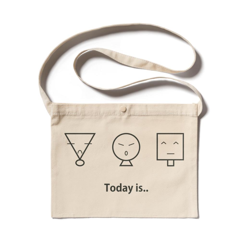 あなたの今日はどうですか。 シンプルなイラストのサコッシュ