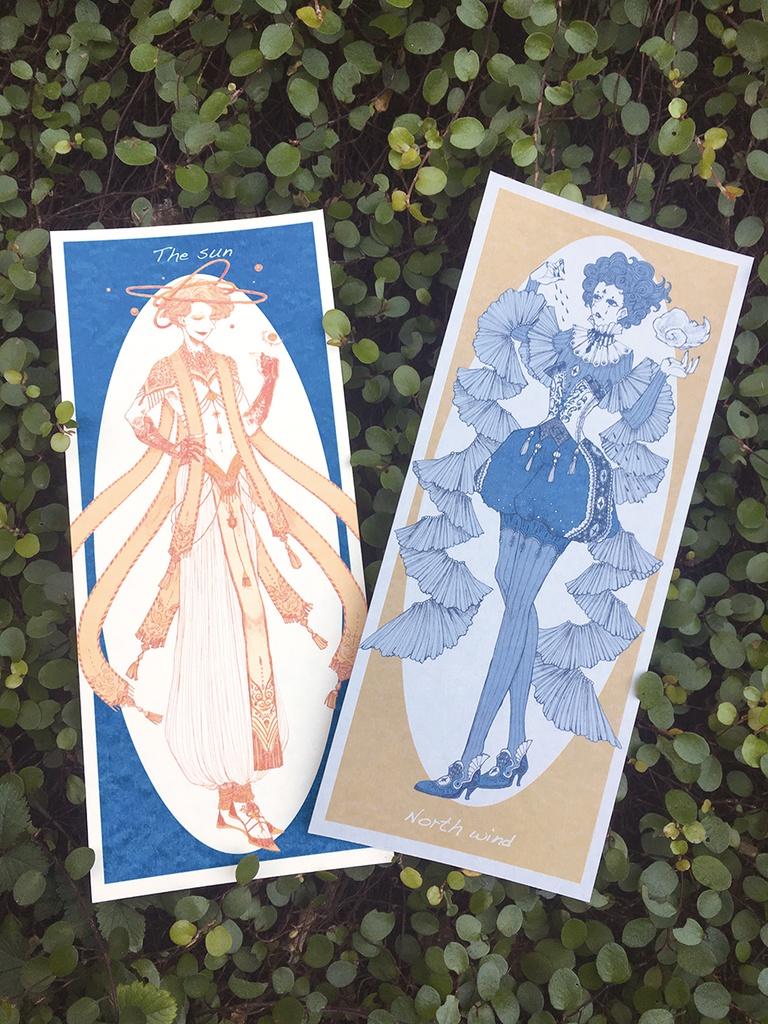 北風と太陽 イラストカード オリエント座 Booth