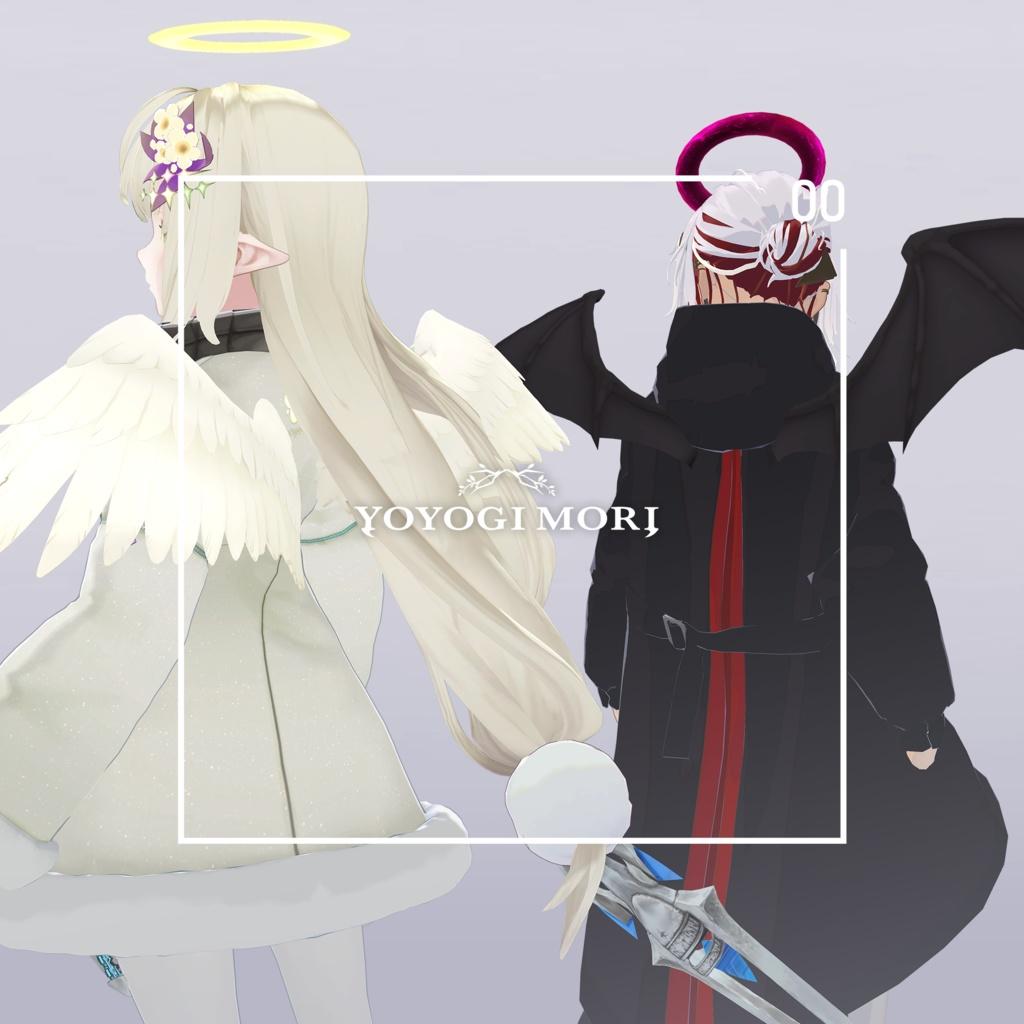 【VRC対応3D雑貨モデル】ハロウィン「天使&悪魔」セット ver3.00