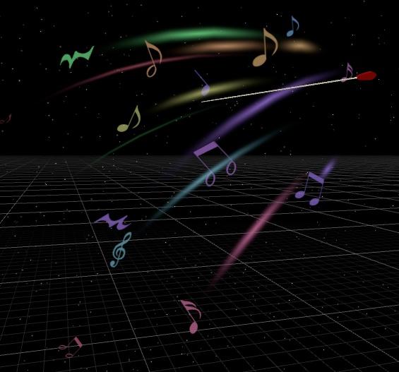 【無料版有り】指揮棒と音符パーティクル&五線譜トレイルセット【3Dモデル】