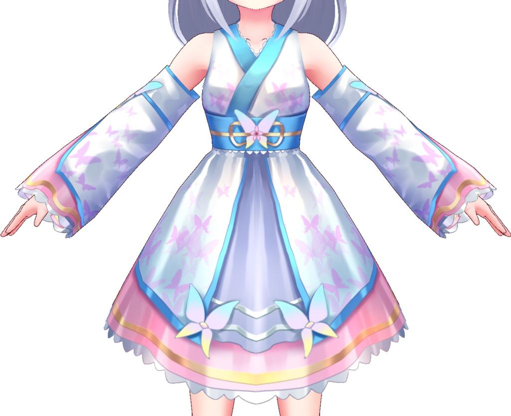 【Vroid用衣装テクスチャ】ホワイトバタフライワンピース