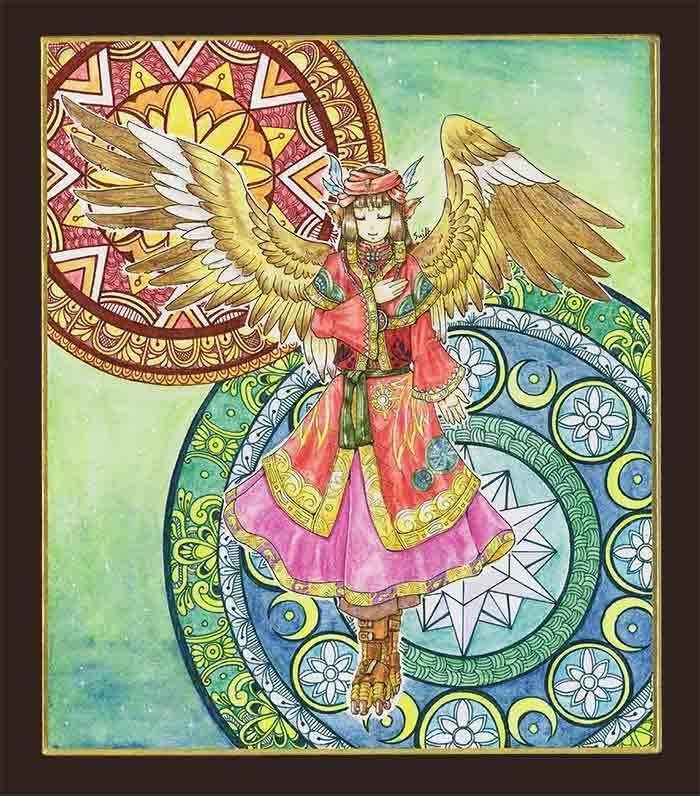 色紙原画「隣国の姫巫女」