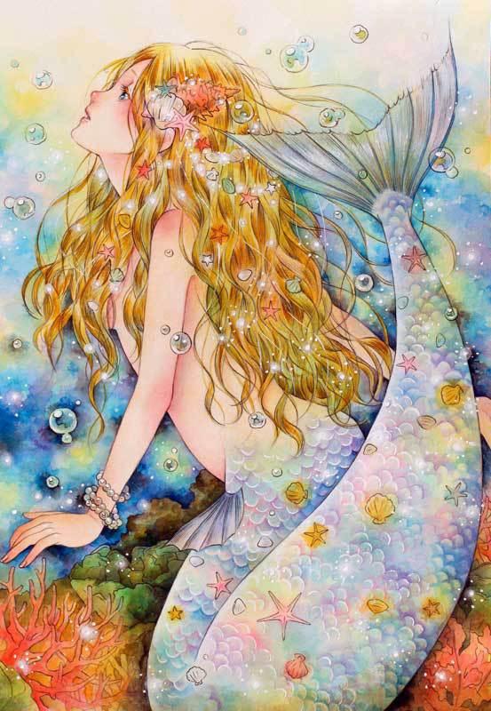 A4イラストカード「人魚姫」
