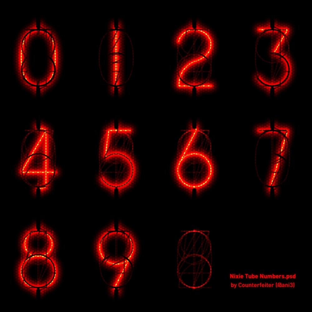 Nixie Tube Numbers.psd