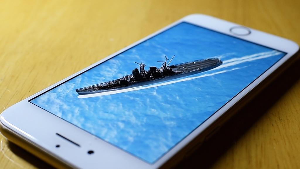 動く背景/海 スマホ用003「中型艦の航跡」