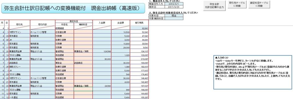 弥生会計変換対応現金出納帳 - 小林敬幸税理士事務所Excelシート販売 ...