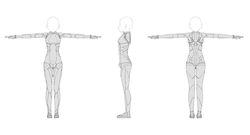 無料モデリング用三面図素体素材 Ver04 Putcher Booth