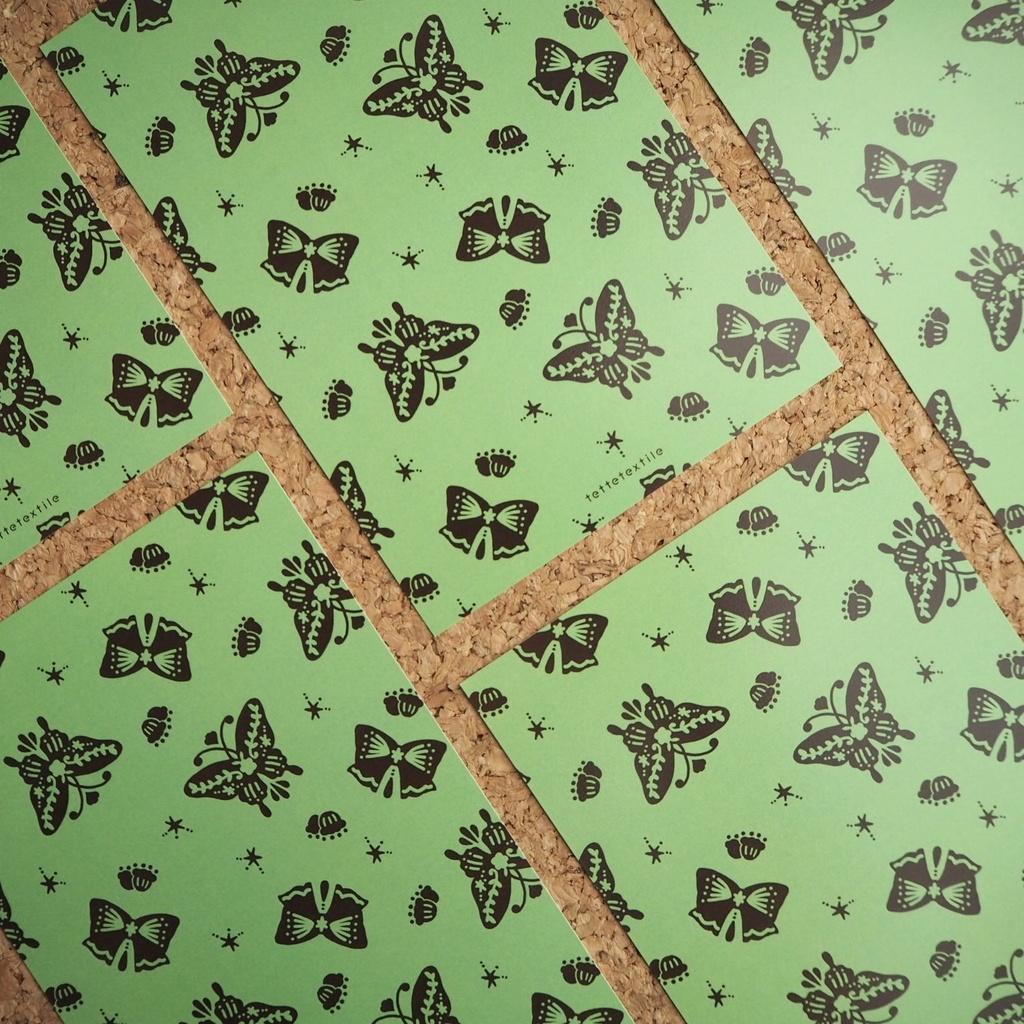 【ポストカード】butterfly ribbon pattern_greentea