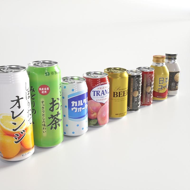 500ml缶、350ml缶、185ml缶、ボトル缶【3Dモデル】