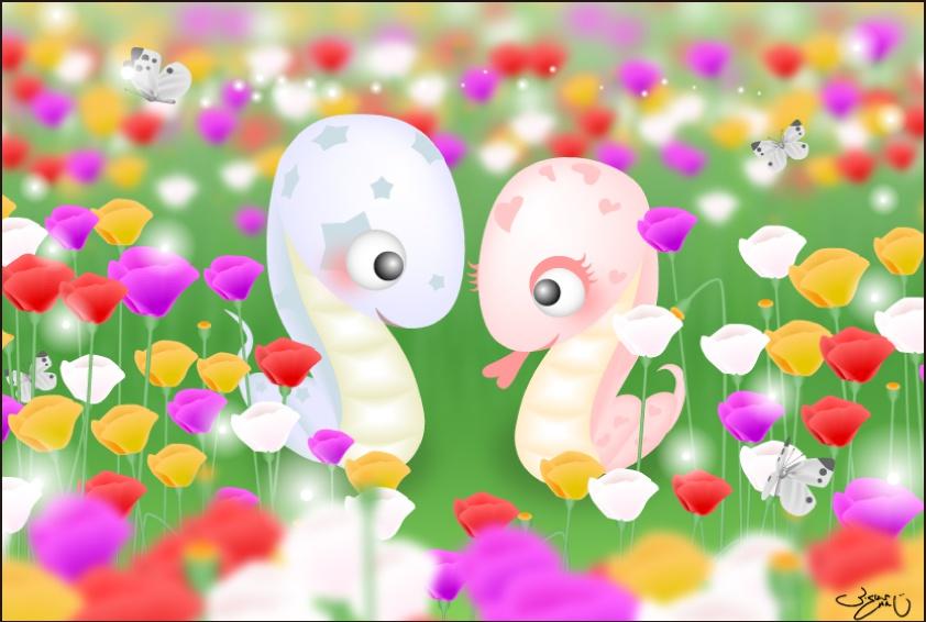 ポストカード087 Love Snake