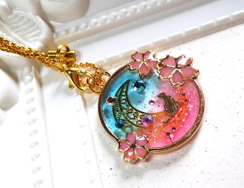 レジンアクセ/桜と月見猫