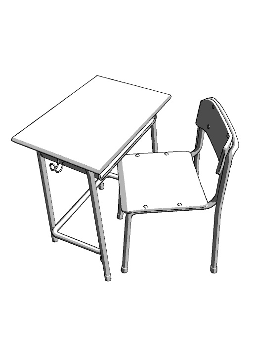 学校の椅子机フリー素材 鴨屋工房 Booth