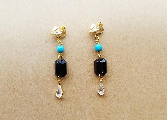 レクタングル×ドロップのイヤリング(turquoise)