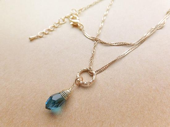 ※チェーンデザイン変更※青の雫ネックレス(ocean blue)