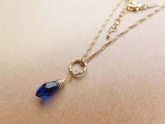 ※チェーンデザイン変更※青の雫ネックレス(deep blue)