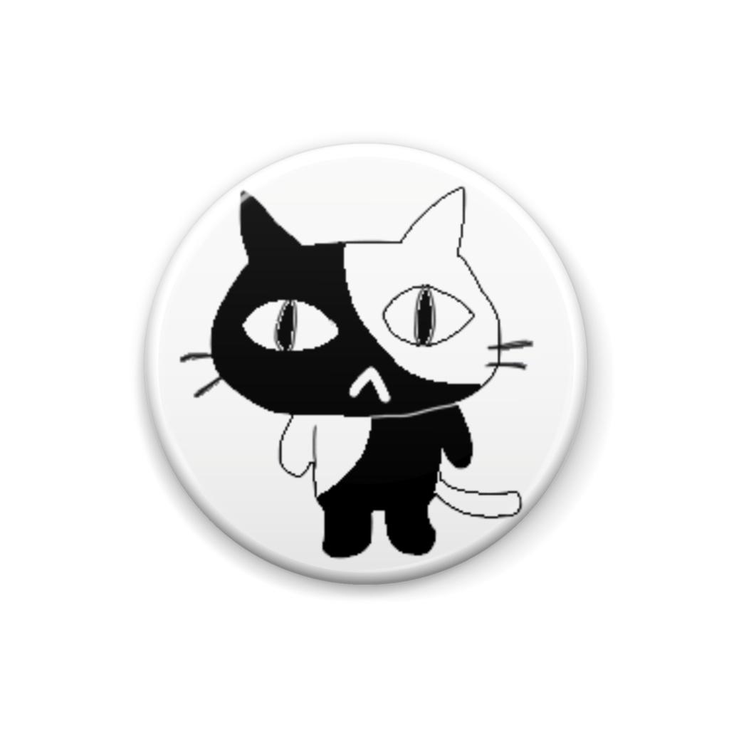 クロシロ猫バッジ