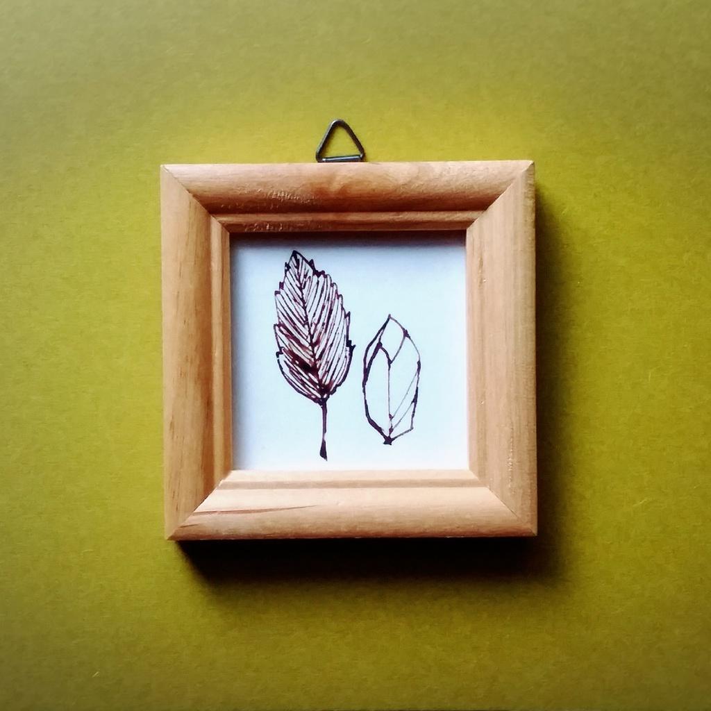 ペン画 「木の葉と鉱石」 原画