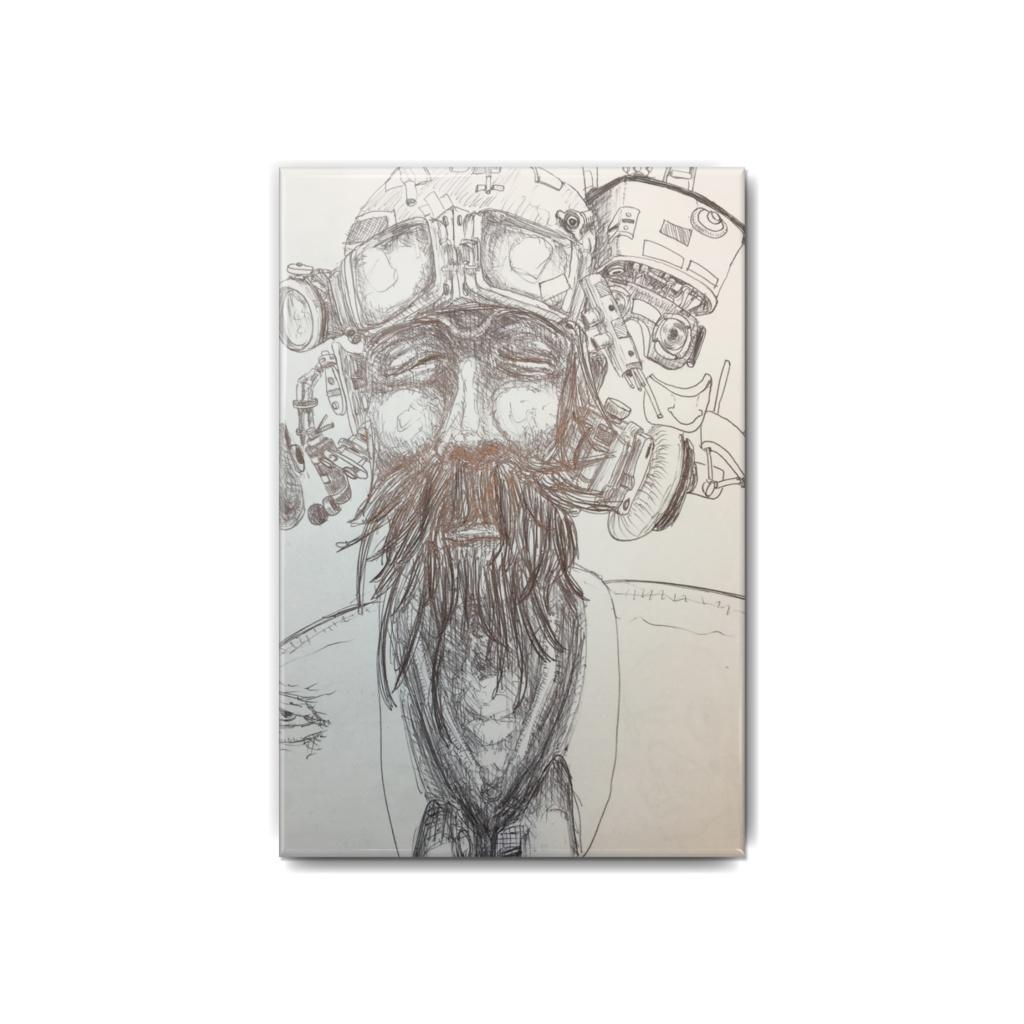 老人_2   缶バッジ ペン画 モノクロ