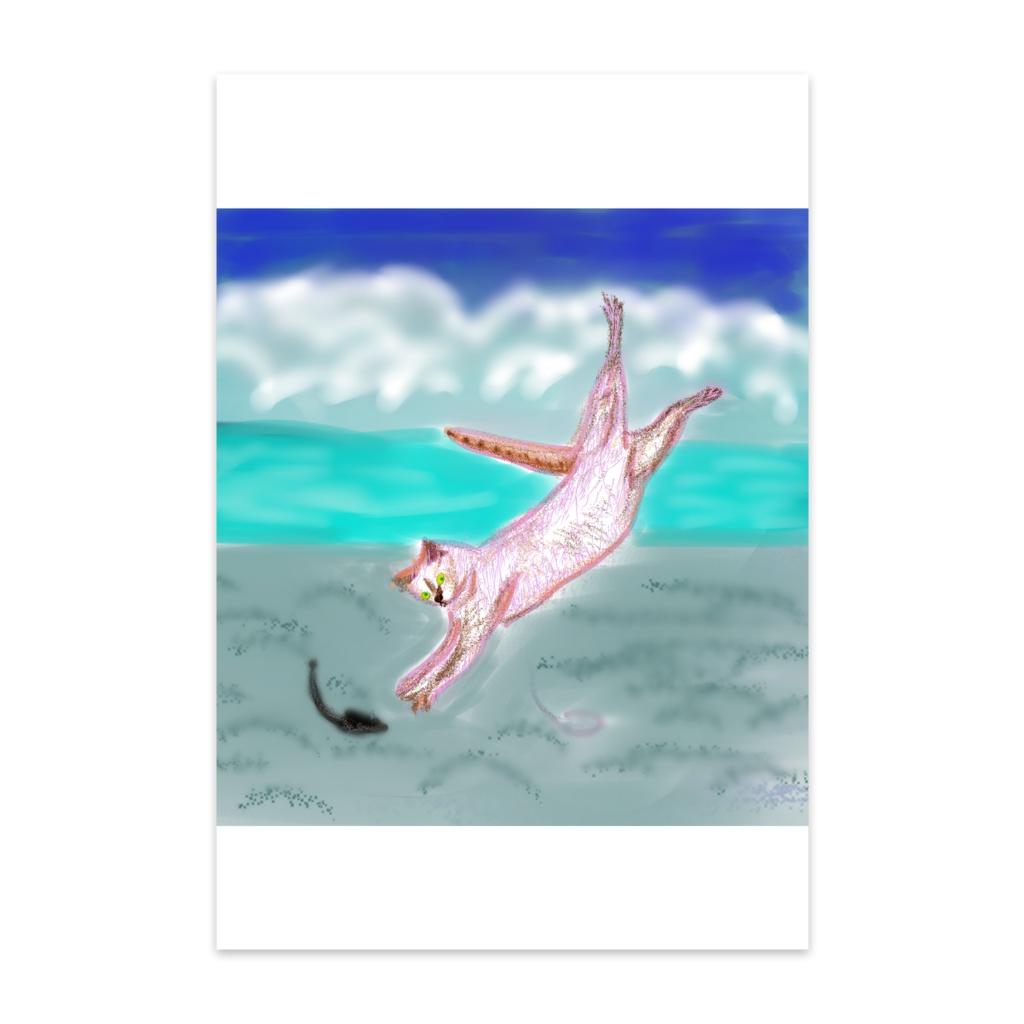 猫のジャンプのポストカード