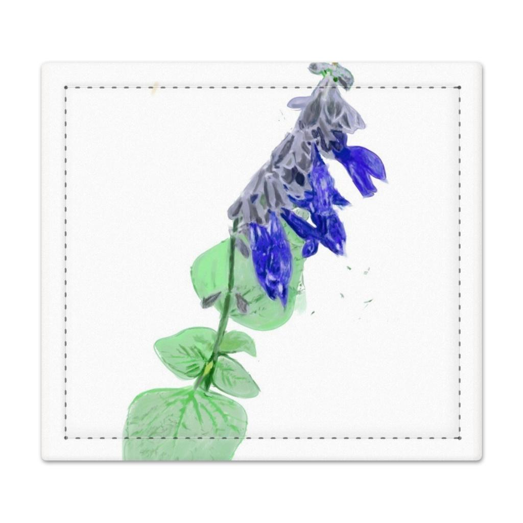 青いサルビアの印鑑マット