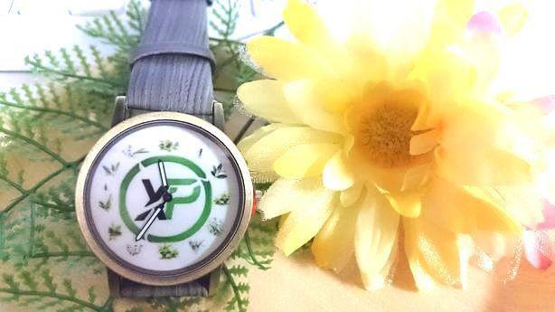 ◆過去作品(アーカイブ) 灰色ネイチャー柄なベルト(2針腕時計):XPコイン おハーブ文字盤シリーズ