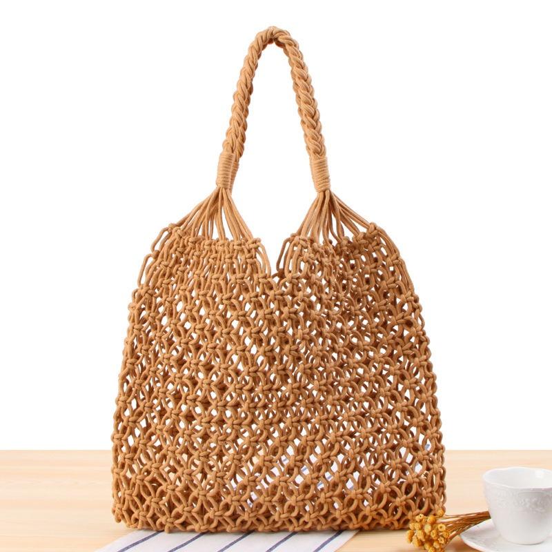 手織りコットンロープネットポケットワンショルダーレディースバッグ
