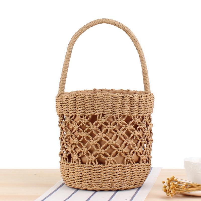 バケツ型の持ち運び可能なフラワーバスケットバッグ