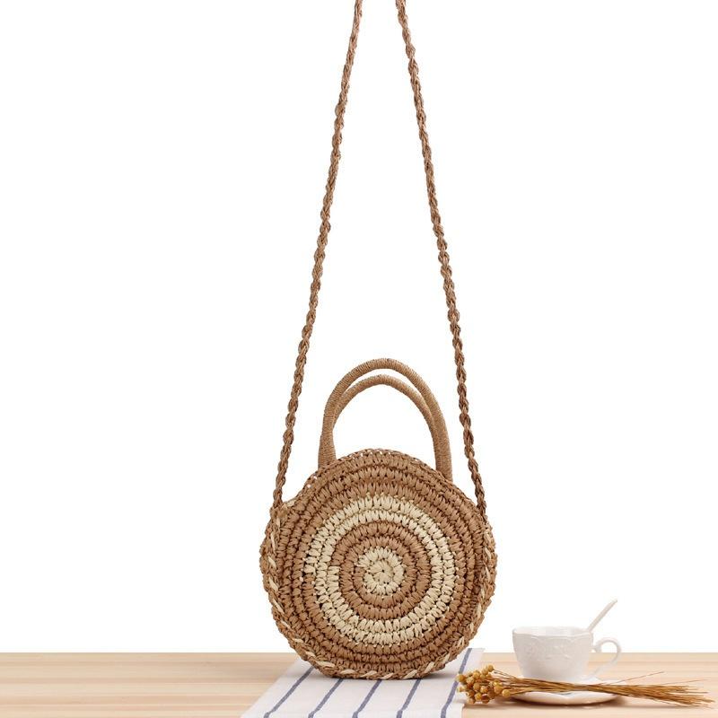 ラウンドストライプ手織り手織りメッセンジャーバッグライトブラウンカジュアルバッグ