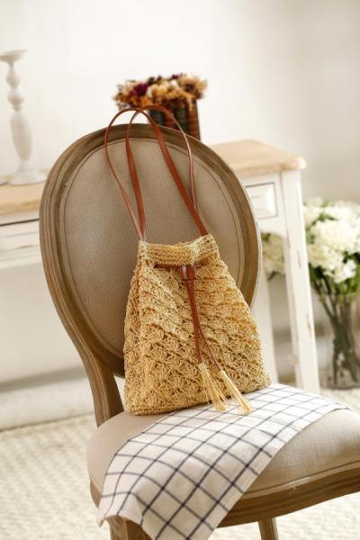 手作りタッセルバケツ織りバッグ