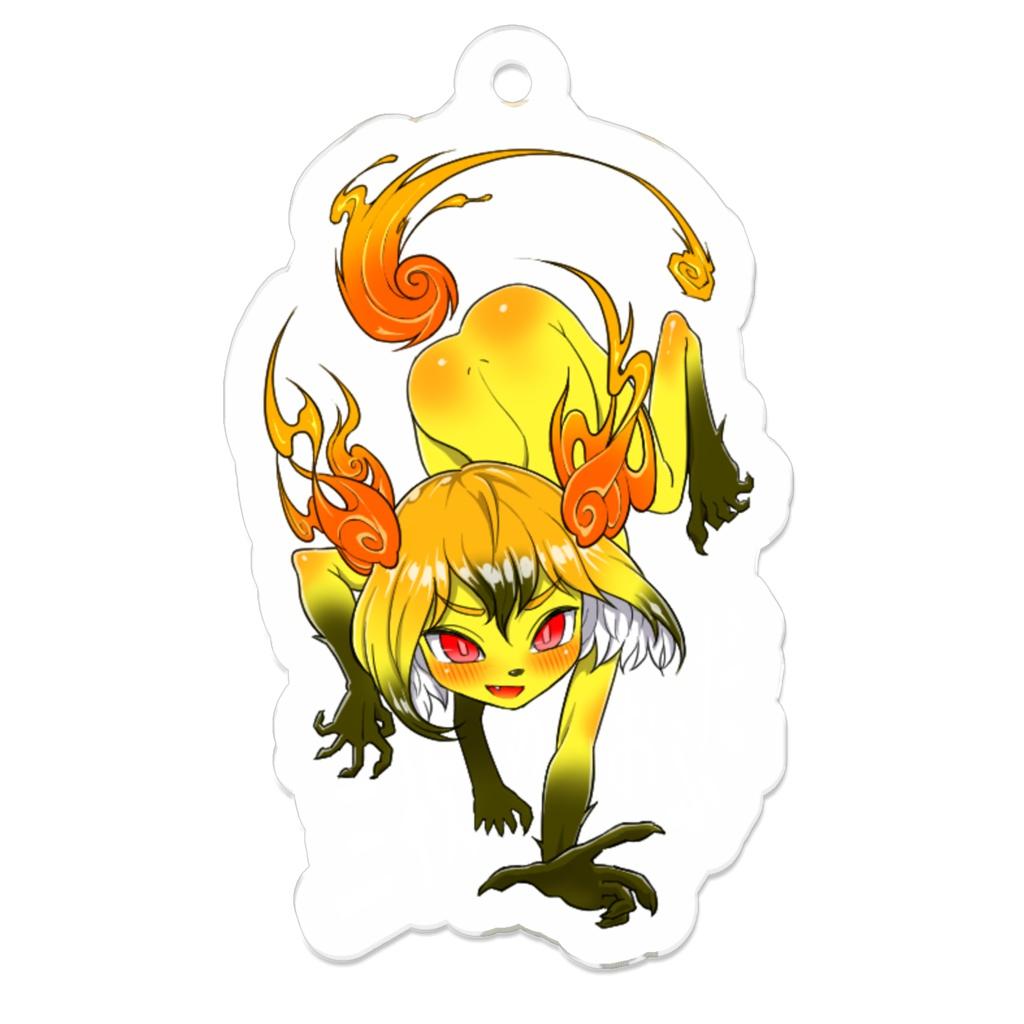 三枚のおふだアクリルキーホルダー 妖狐