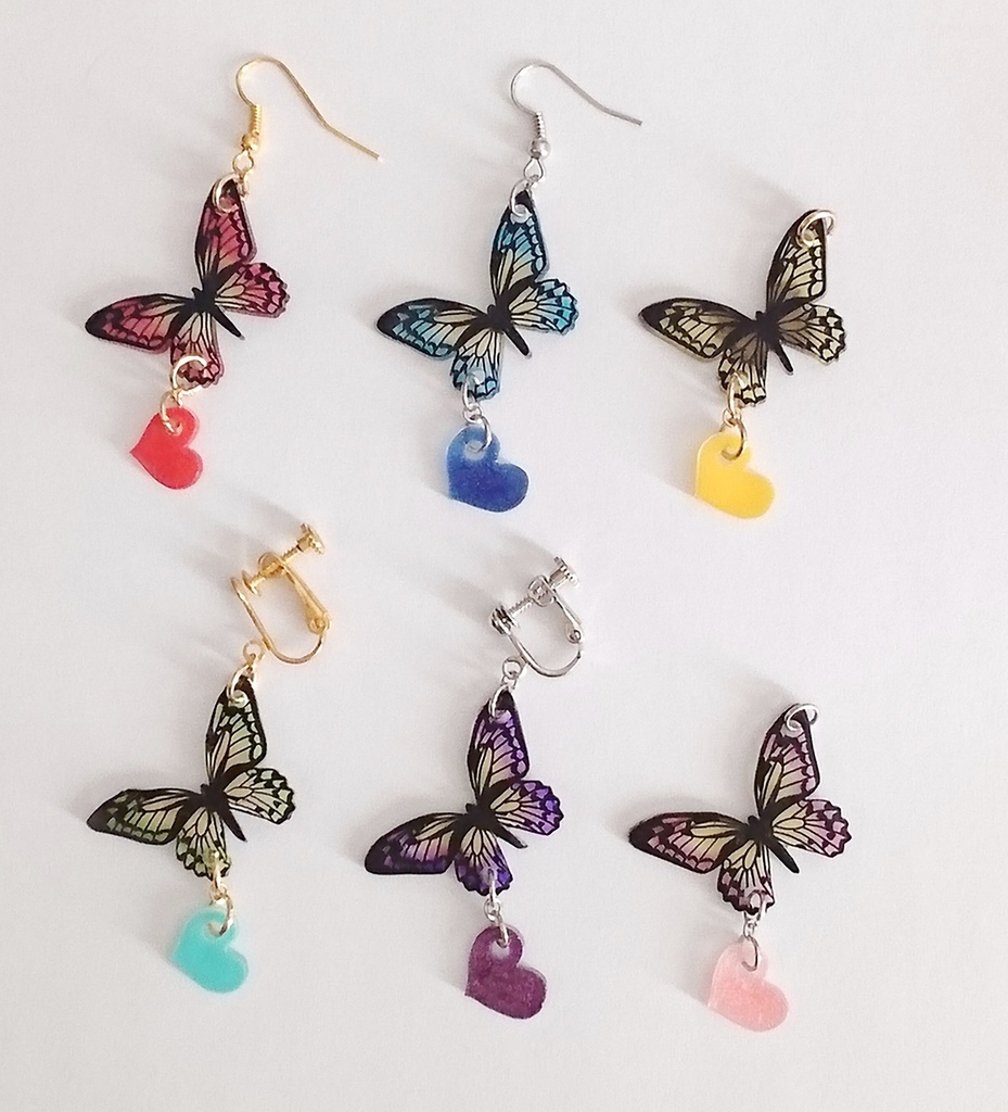 蝶々×ハートのピアス・イヤリング