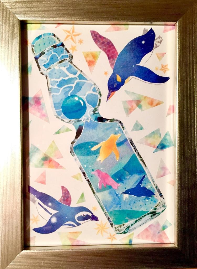 ラムネ瓶の海(マスキングテープイラスト原画)