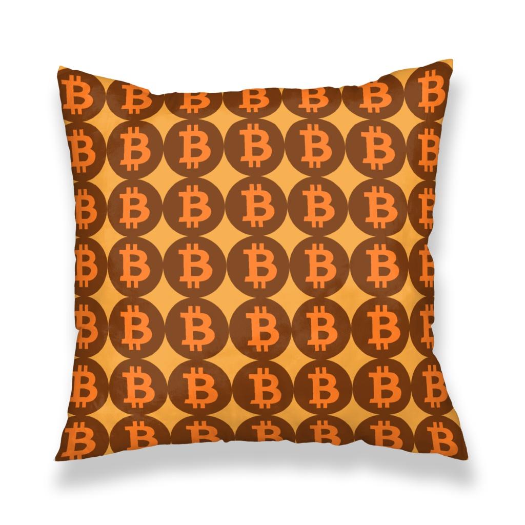 暗号通貨仮想通貨ビットコインデザイン クッションカバー(A)