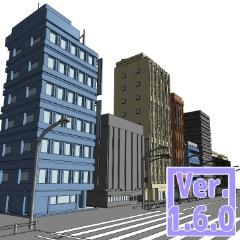 3D ストリートビル2(クリスタ1.6.0~・コミスタ用)ビル街 商業ビル