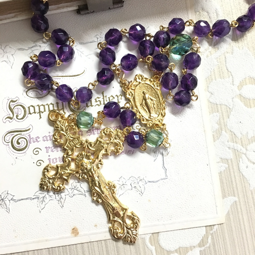 【 ロザリオ 】菫冠 - robe violet et vert -