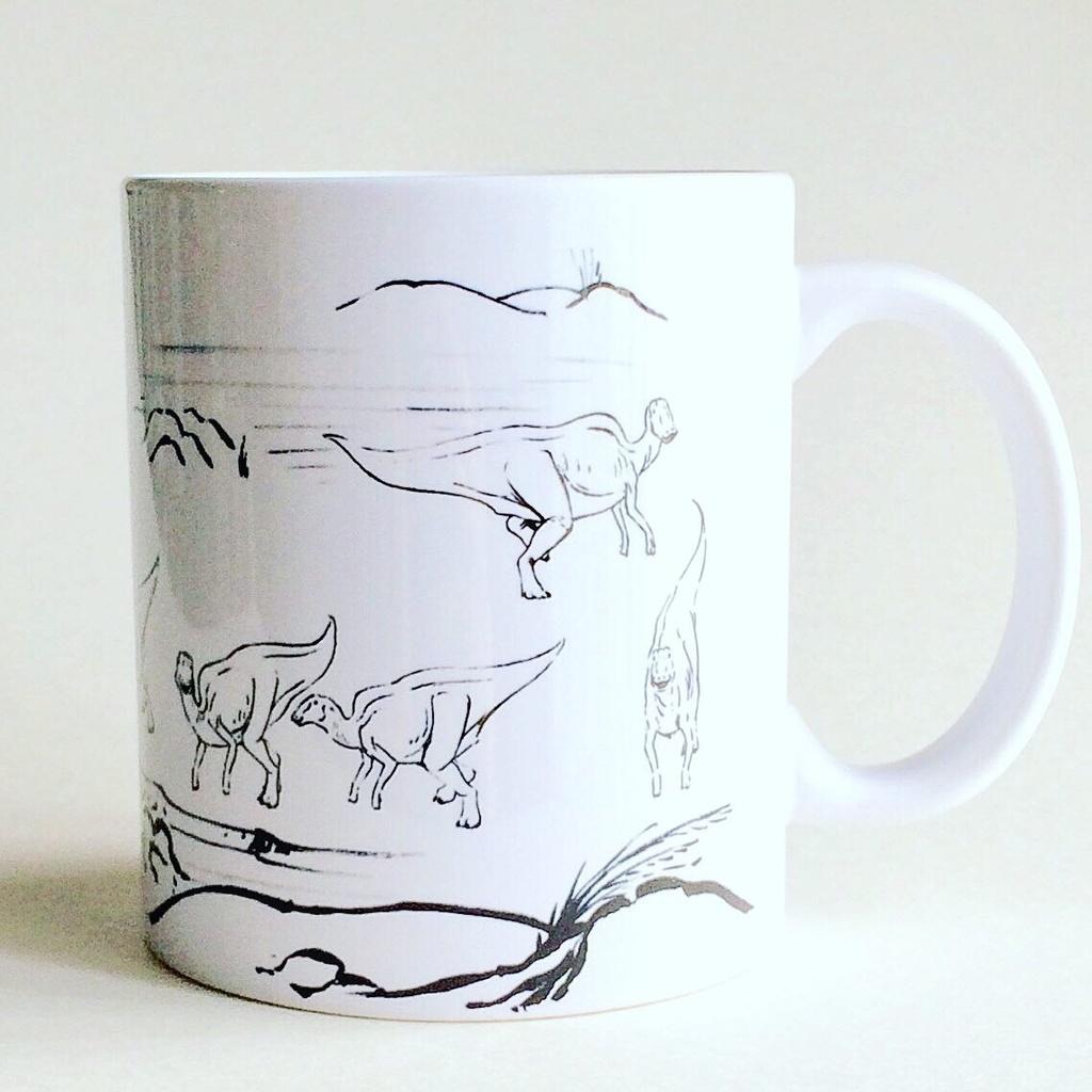 水墨画風恐竜イラストマグカップ