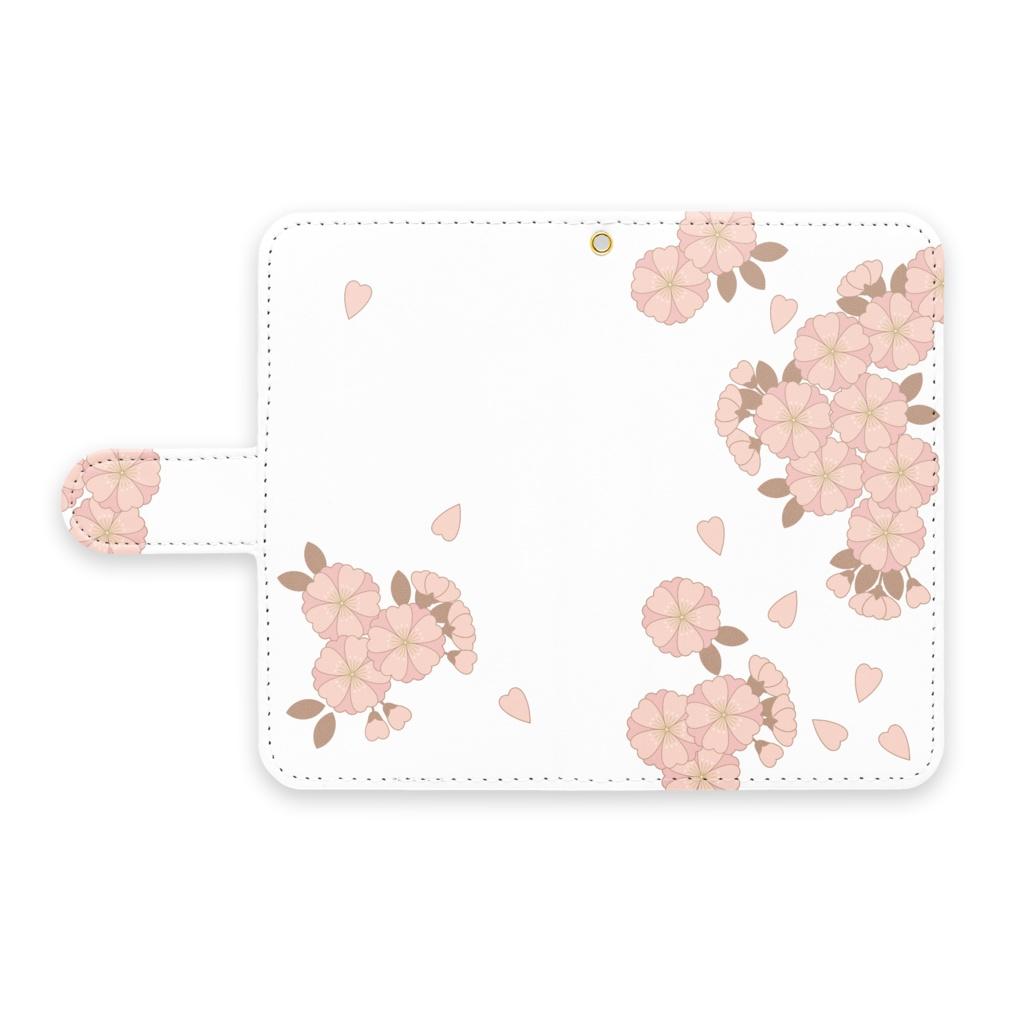 和柄手帳型Androidケース 八重桜 ピンク