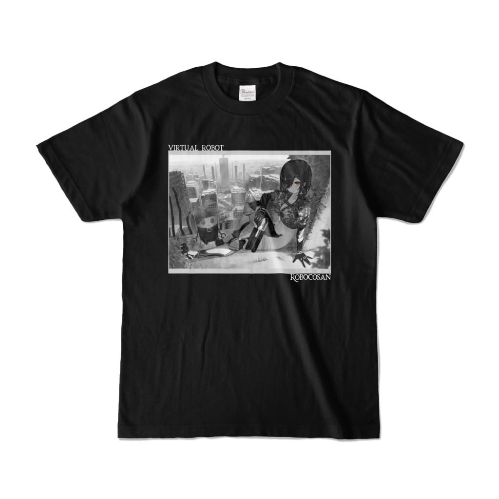 <新> ロボ子さん バーチャルロボットTシャツ「モノクロ黒」