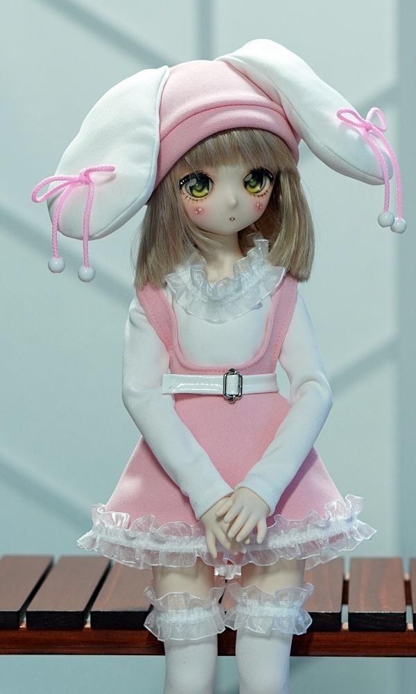 MDDうさ帽サロペット・ピンク・水色