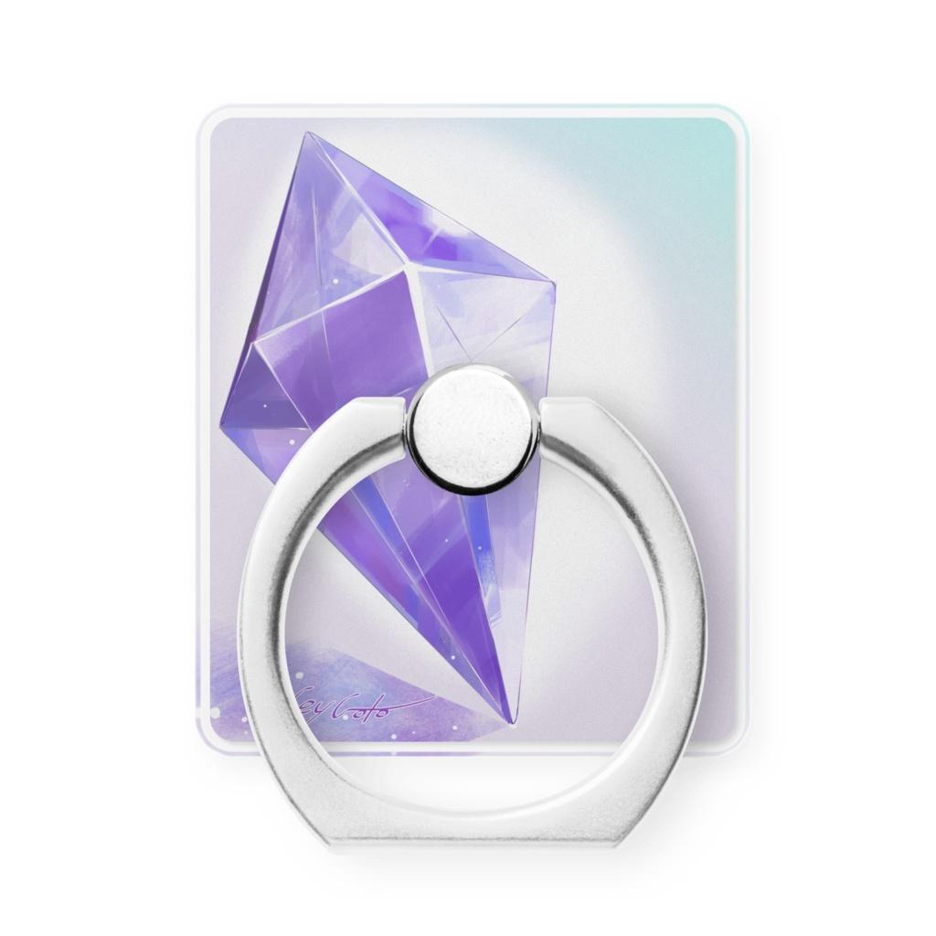 《三日月》紫水晶のスマホリング《御守り》