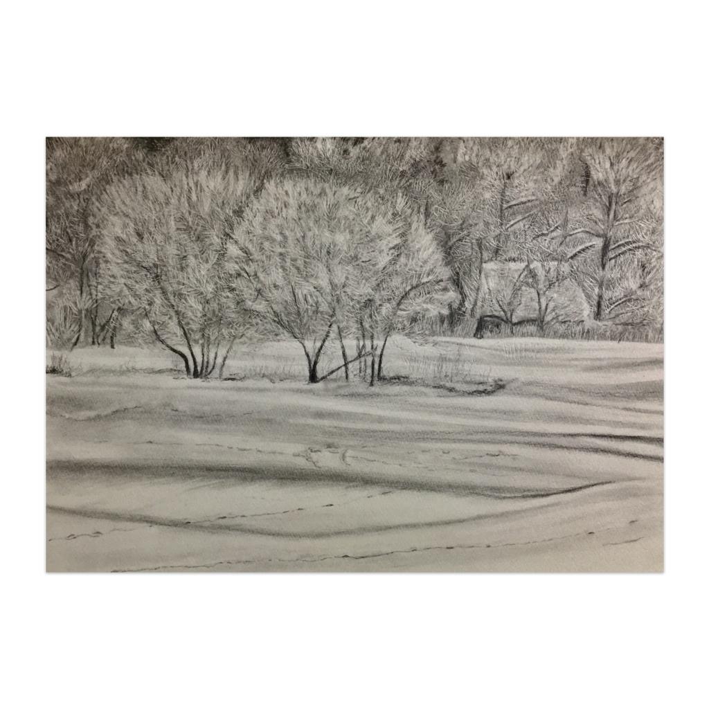鉛筆画 北海道の雪原
