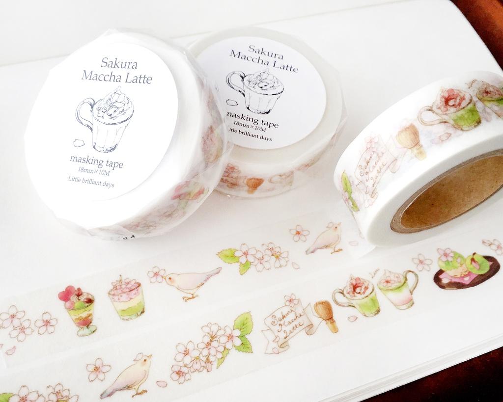 残少◆SakuraMacchaLatte(White)masking tape