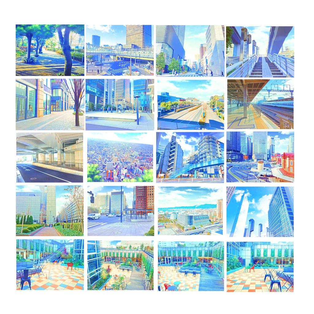 イラスト風&水彩風背景素材集 都会の背景シリーズb - yakumoreo - booth