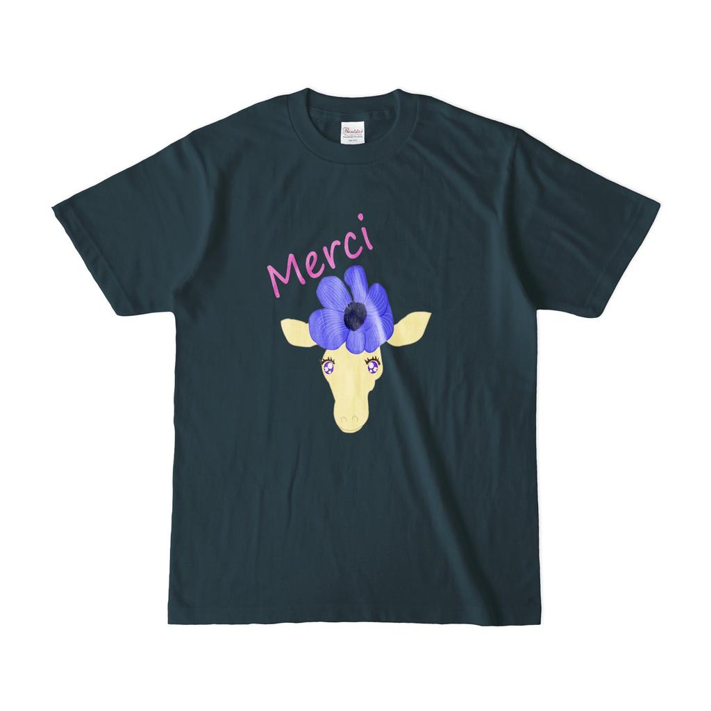 花飾りのキリンmerciTシャツ紺