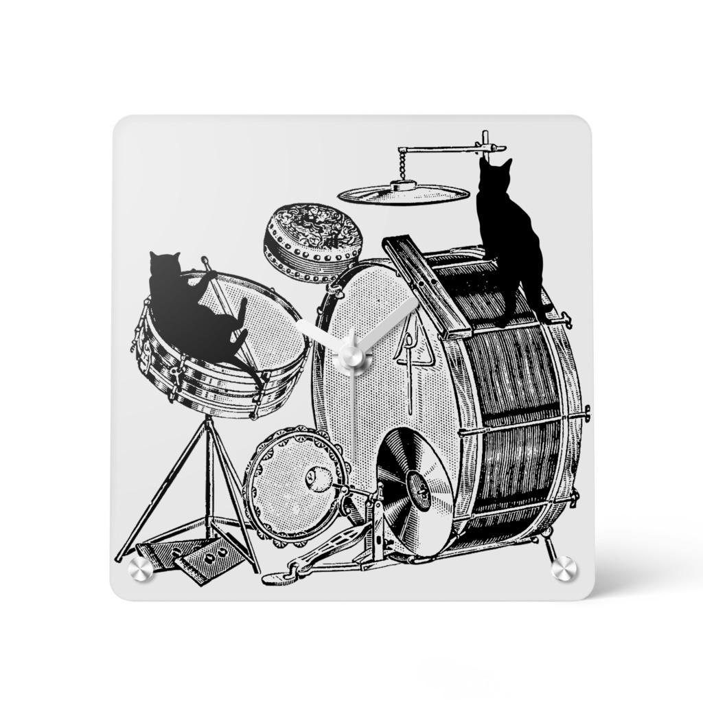 ドラムと黒猫の時計