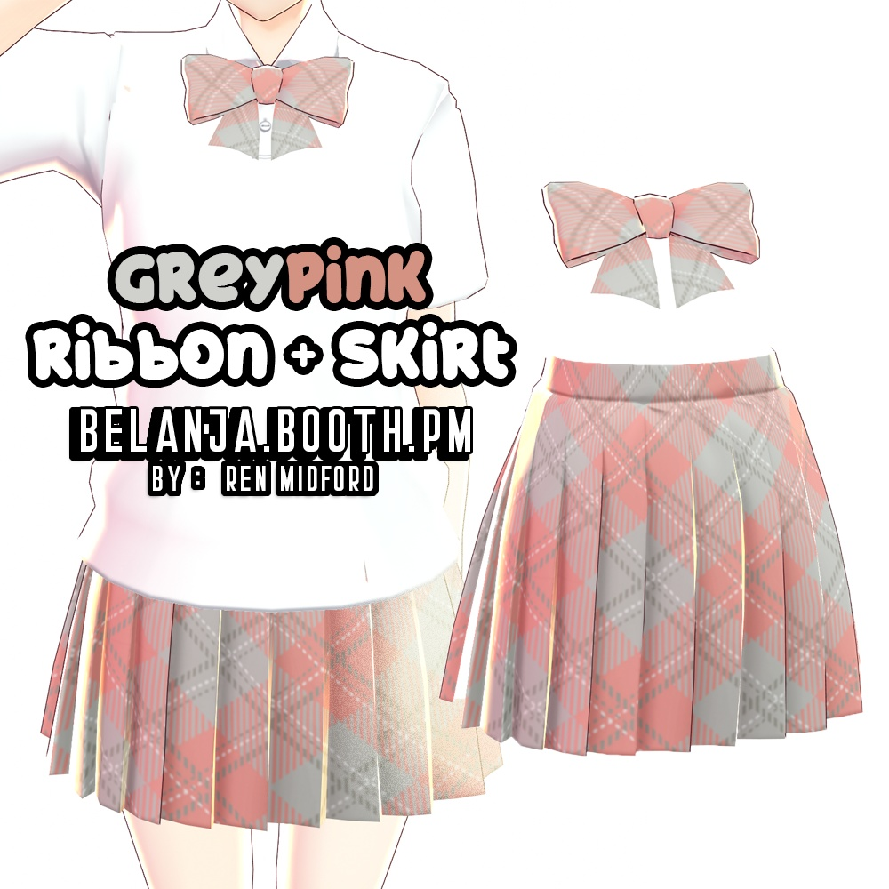 VRoid Skirt + Ribbon Color Grey and Pink Ver 2 || VRoid studio texture school uniform 制服 || clothes outfit