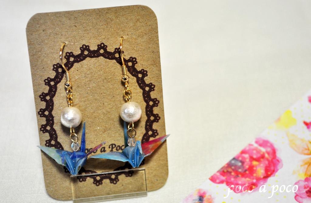 折り鶴とコットンパールアクセサリー 水色/ピンク ピアス/イヤリング