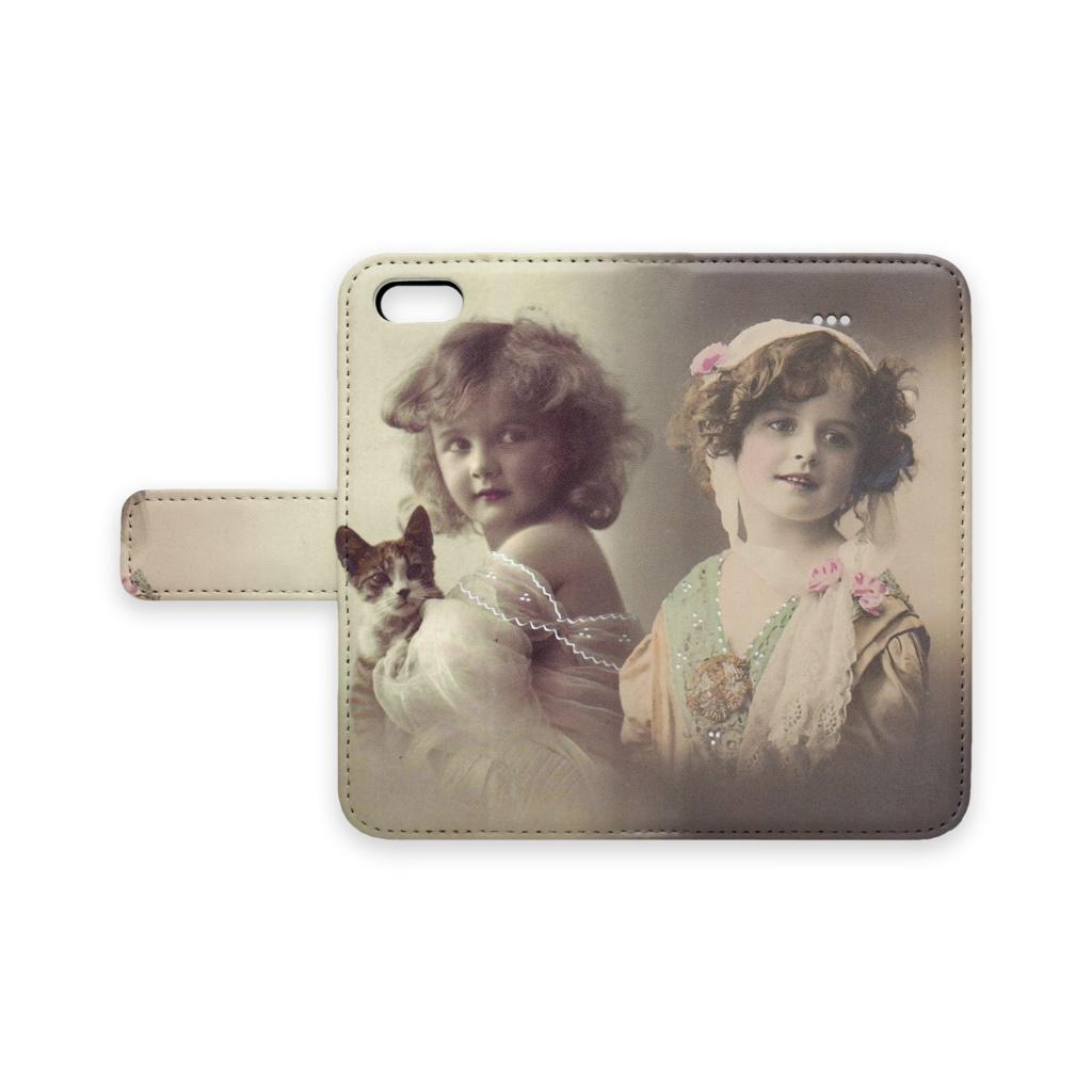 アンティークポストカード 手帳型スマホケース 少女